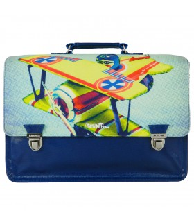Cartable Miniséri 39cm Bleu Motif Avion