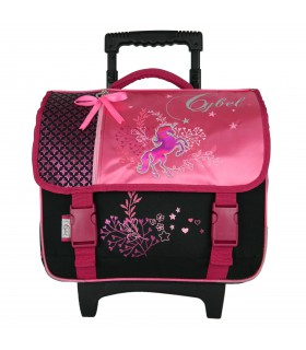 CARTABLE A ROULETTES 38CM ROSE-CYBEL CHEVAL