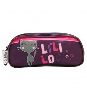 Trousse scolaire Lililou Chat Prune