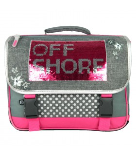 Cartable Offshore 38cm Gris et Rose