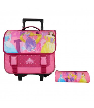 Cartable à roulettes 38cm + Trousse Princesses Rose Disney