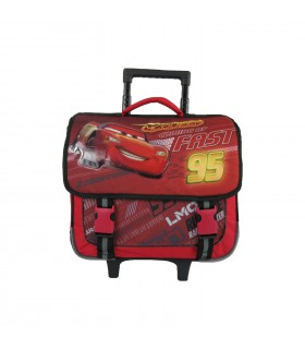 CARTABLE A ROULETTES 38CM ROUGE-CARS